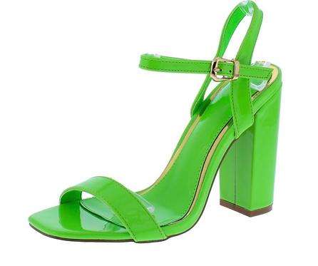 Green Square Open Toe Slingback Block Heel
