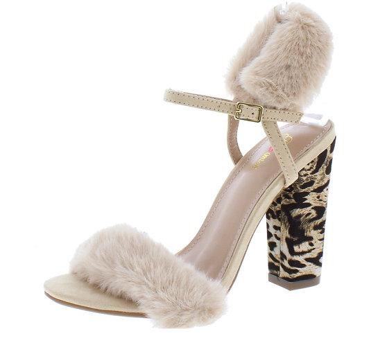 Ily Black Faux Fur Open Toe Slingback Printed Block Heel