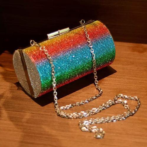 Rainbow Rhinestone Purse Evening Bags for Women Luxury Party Handbag for Wedding
