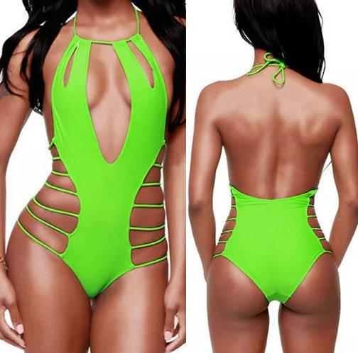 One piece sexy green bikini