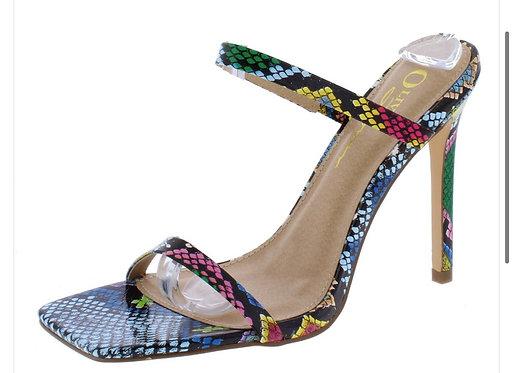 Indigo Multi Snake Square Toe Dual Strap Slide Stiletto Heel