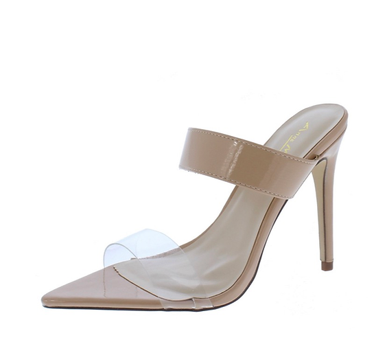 Exception01s Nude Pointed Open Toe Dual Strap Heel