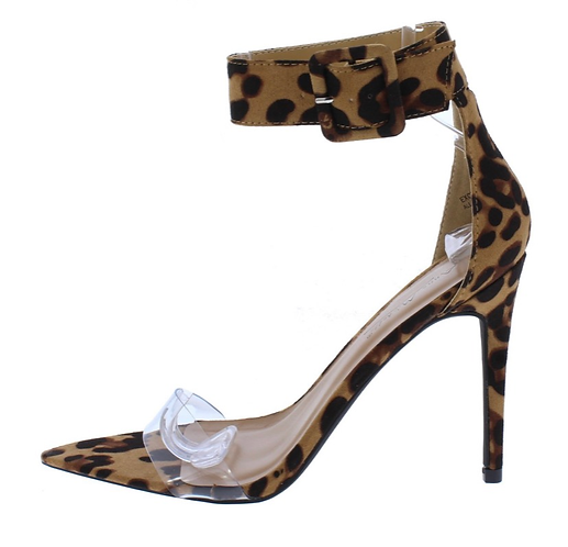 Exception26 Leopard Lucite Pointed Open Toe Stiletto Heel