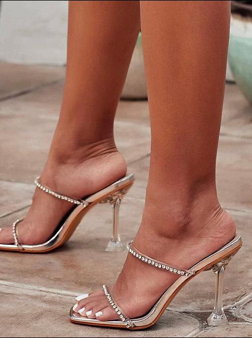 Stiletto heeled mules