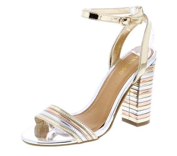 Gold Two Tone Metallic Open Toe Block Heel