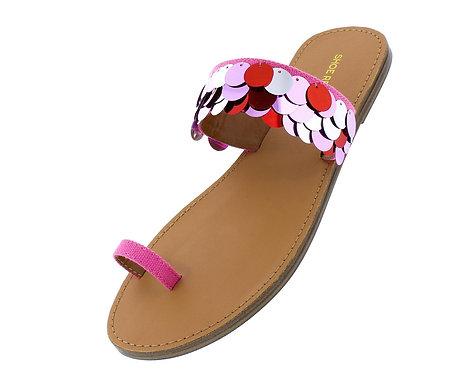Raja Coral Toe Loop Open Toe Sequin Flat Slide Sandal