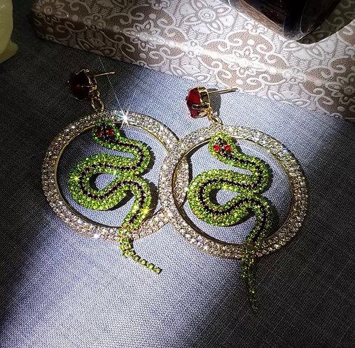 Luxury Green Crystal Snake Earrings For Women Round Hollow Shiny Rhinestone Dang