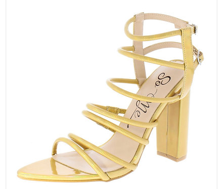 Hologram Pointed Open Toe Strappy Tall Block Heel