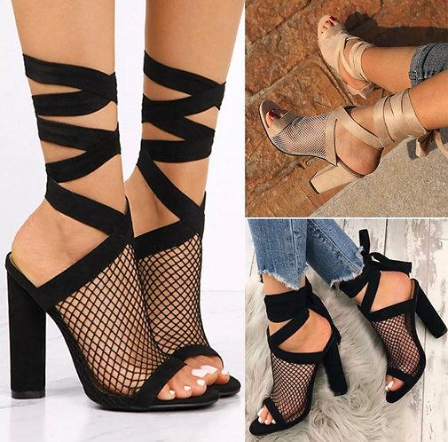 Women high heels ankle strap chunky sandal open toe