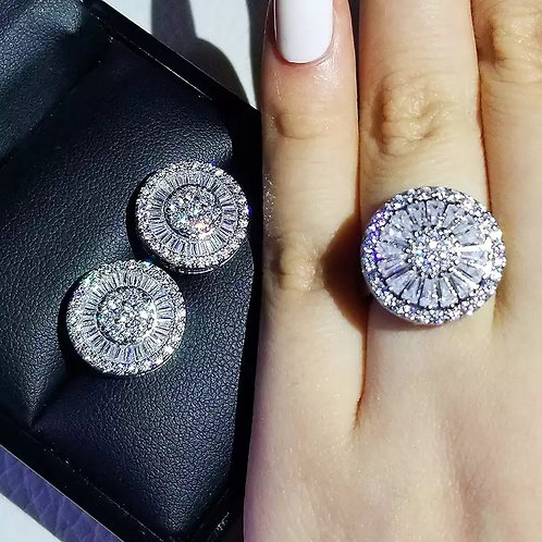 Silver Cushion Cut Zircon Jewelry Set Engagement Ring Stud Earring For Women Gif