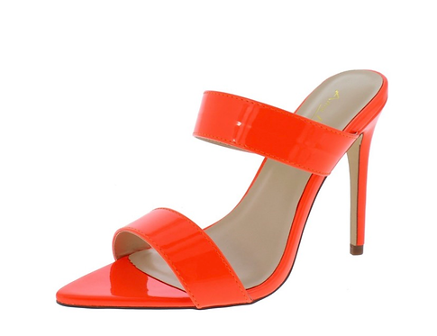 Exception01s Neon Orange Pointed Open Toe Dual Strap Heel
