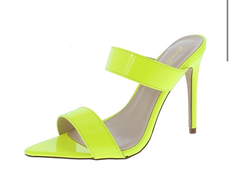 Exception01s Neon Yellow Pointed Open Toe Dual Strap Heel