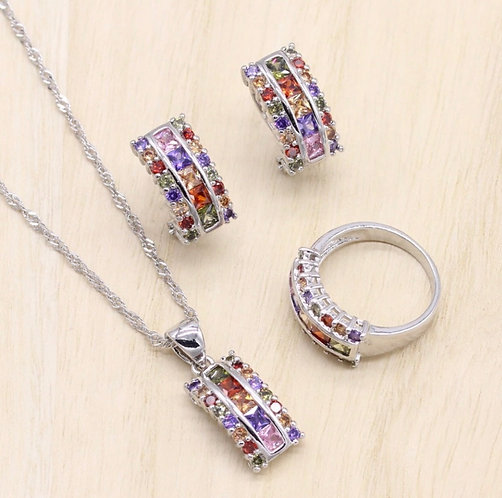 Silver Women Jewelry Sets Multicolor Cubic Zircon Bracelet Geometric Earrings/P