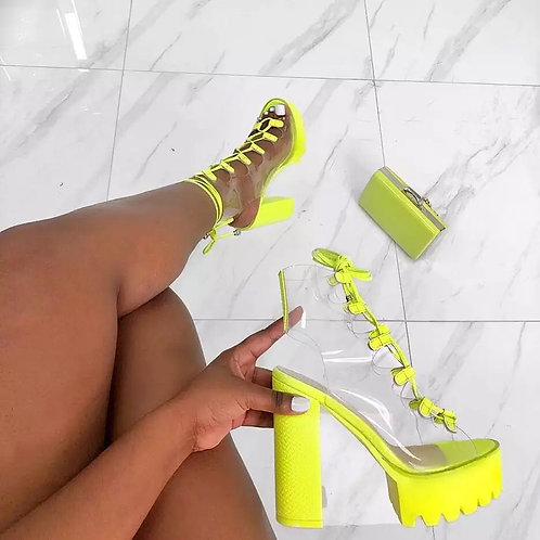 2019 Summer New Thick Bottom Fashion Sexy Transparent PVC Leather Lace Show Show