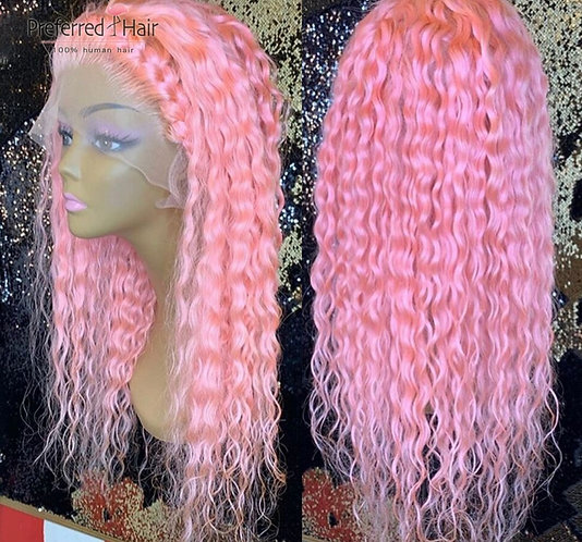 Preferred Pink Curly Human Hair Wig Pre Plucked With Baby Hair Remy Brazilian Wi