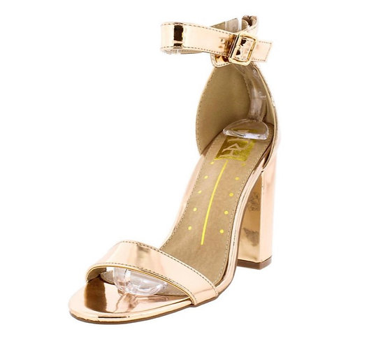 Constance01 Rose Gold Metallic Mirror Finish Strappy Chunky Heel