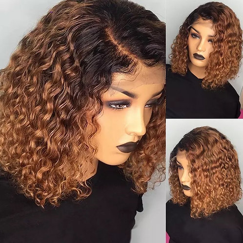 Ombre Color Short Curly Lace Front Human Hair Wigs With Baby Hair Pre Plucked R