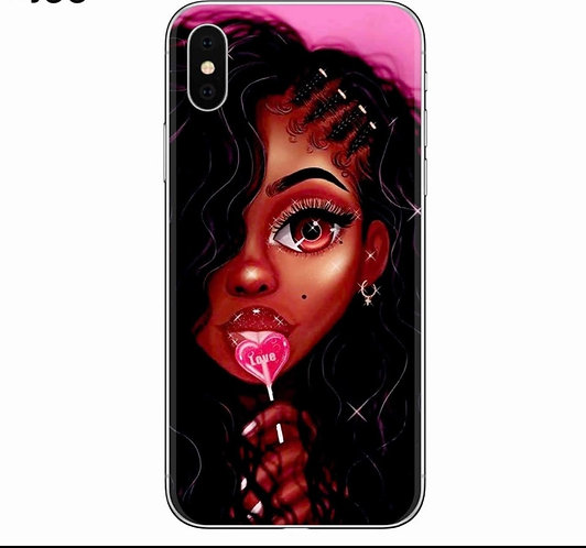 Afro Girls Soft Silicone Phone Cover