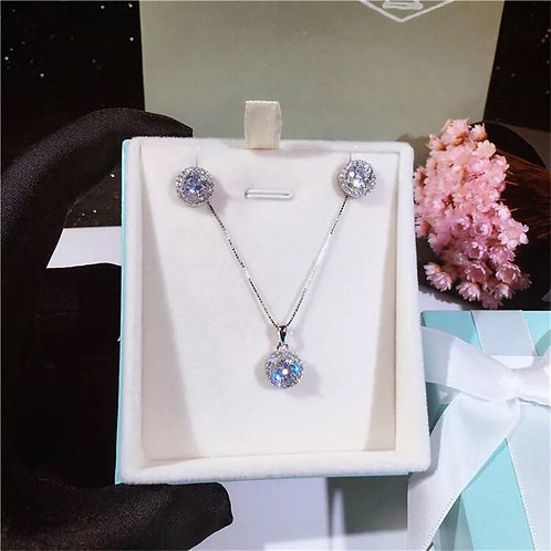 Silver Jewelry Sets For Women Necklaces Pendants Stud Earrings Cubic Zirconia Br