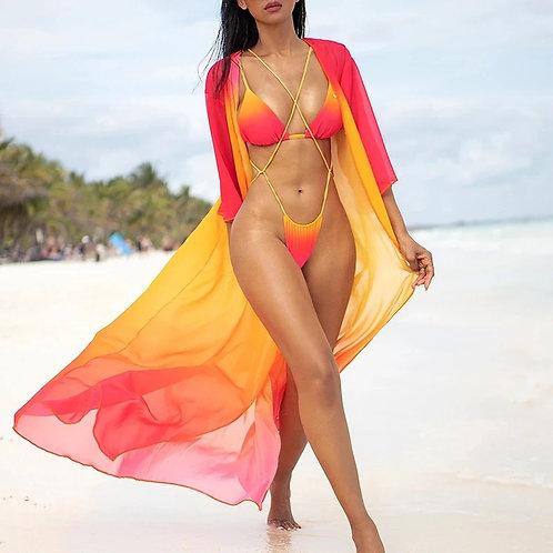 Sexy Gradient Bikini Set Bandage Micro Bikini Set & Cover Up Swimwear Women Braz