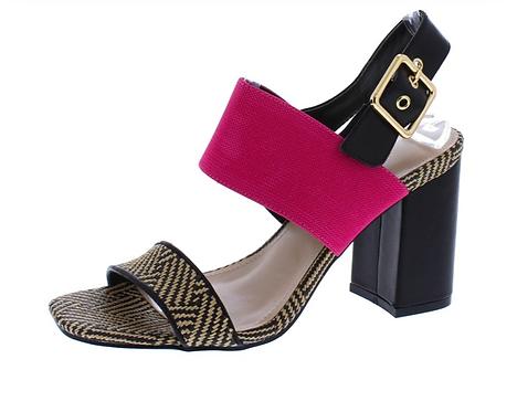 Cafe Black Dual Strap Open Toe Ankle Strap Block Heel