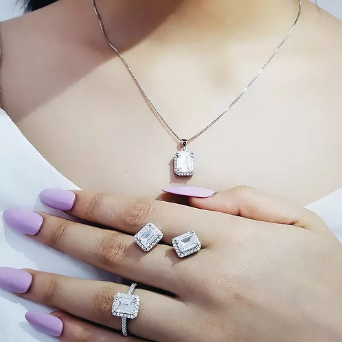 Silver cushion zircon jewelry set for Wedding African Bridal wholesale christmas