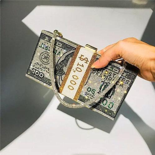 Money Clutch Rhinestone Purse 10000 Dollars Stack of Cash Evening Handbags Shoul