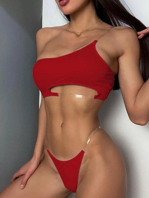 Cut out one shoulder thong bikini swimsuit