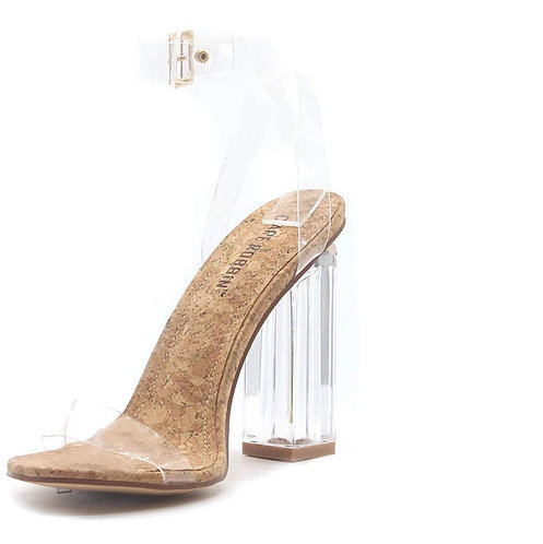 Cape Robbin  460 Maria-2 Clear Chunky Block High Heels for Women, Transparent St
