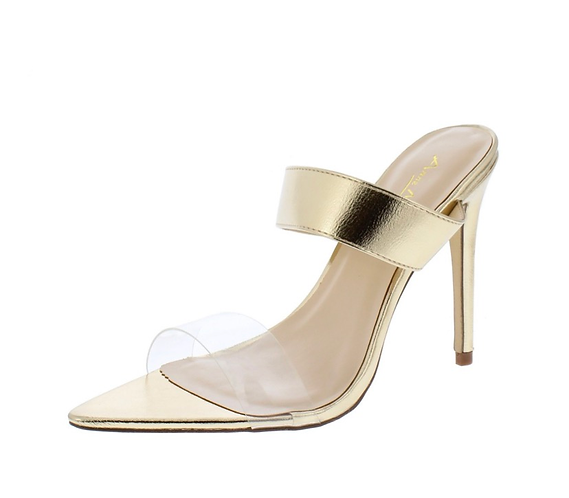 Exception01s Gold Pointed Open Toe Dual Strap Heel