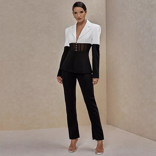 Ocstrade Two Piece Set Women Suit Blazer and Pants Club Two Piece Outfits Runway