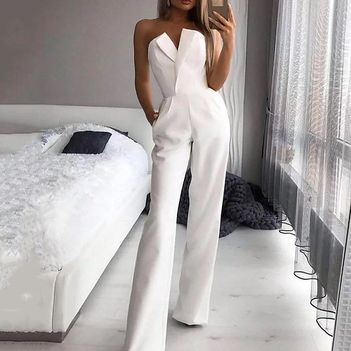 elegance 2021 summer long strapless jumpsuits laides sexy backless wide leg pant