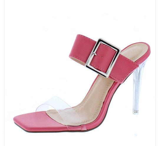 Coral Buckle Strap Open Toe Lucite Stiletto Heel