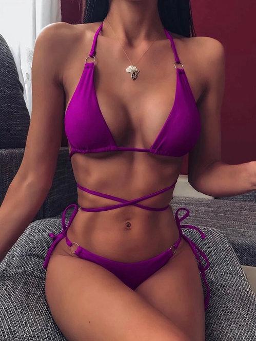 Criss cross triangle tie side bikini swimsuit