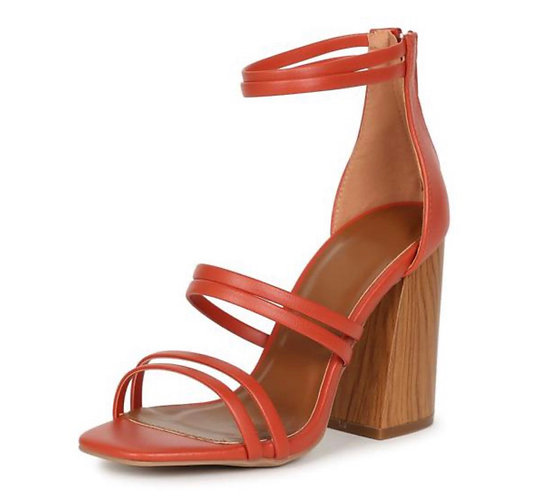 Chandler13a Brick Pu Strappy Open Toe Angled Wood Heel
