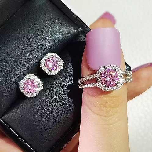 Sterling Silver Cushion Cut Zircon Jewelry Set Engagement Ring Stud Earring For