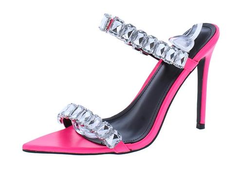 Meteorite pink pointed open toe high heels