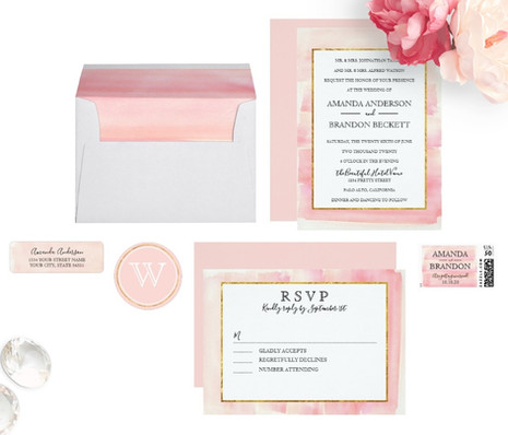 Watercolor Wedding   Rose Gold Pink
