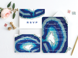 Blue Agate Wedding Invitation Suite