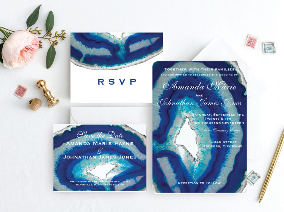 Navy Blue Wedding Invitation Suite | Elegant Agate