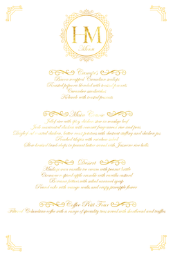 Royal Wedding Menu Replica