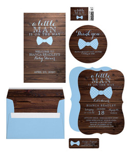 Little Man Blue Bowtie Baby Shower Invitation Suite
