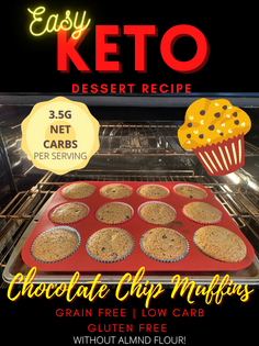 Easy Keto Dessert Recipe: Chocolate Chip Muffins | Grain-Free | Sugar-Free | Gluten-Free