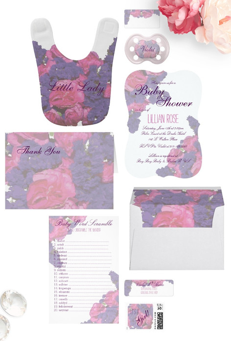 Watercolor Floral Pink Purple Baby Shower Suite