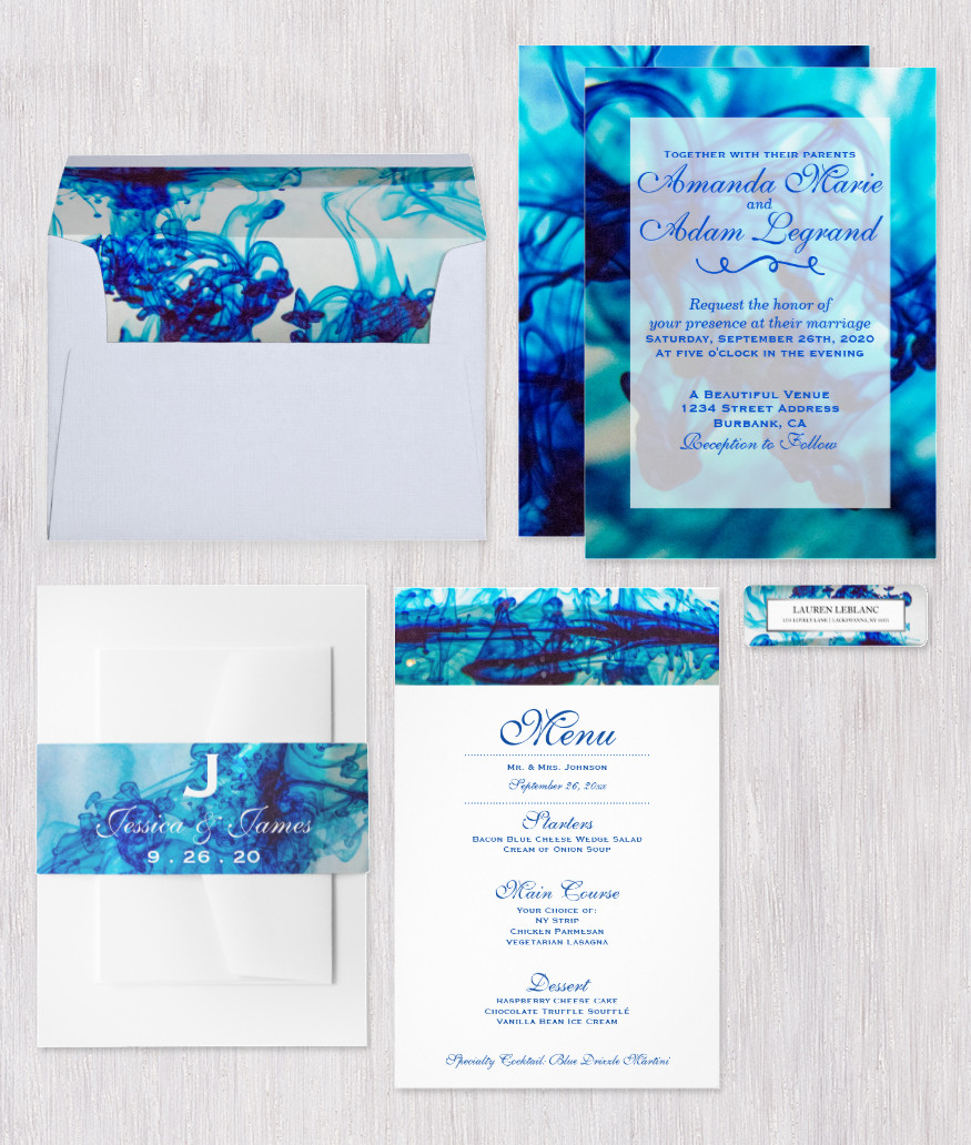 Blue Ink Wedding Invitation Suite