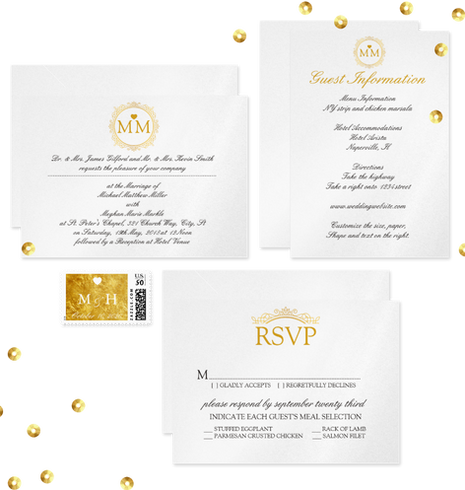 Gold Royal Wedding Invitation Suite