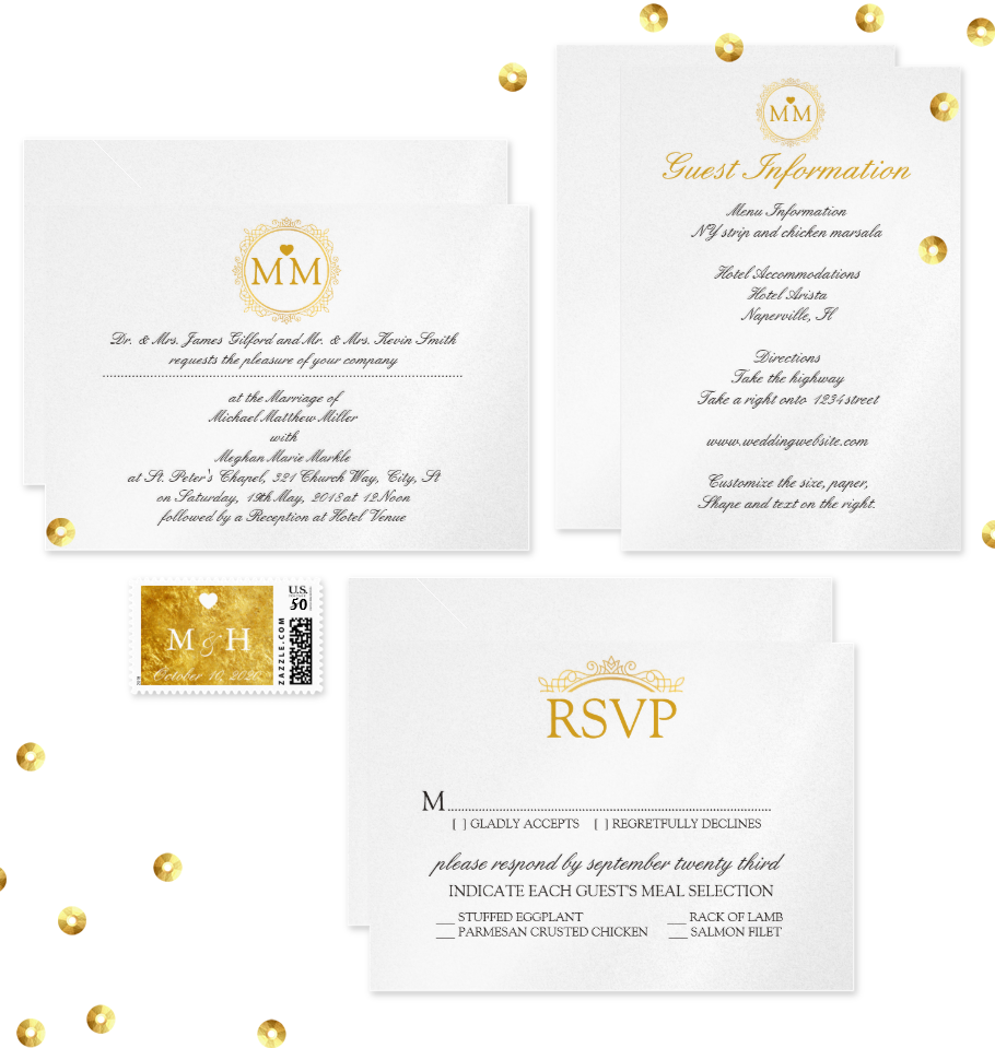 Gold Royal Wedding Invitation Suite