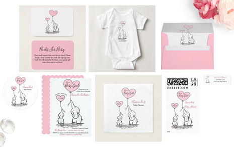 Baby Pink and Gray Baby Shower Elephant Suite