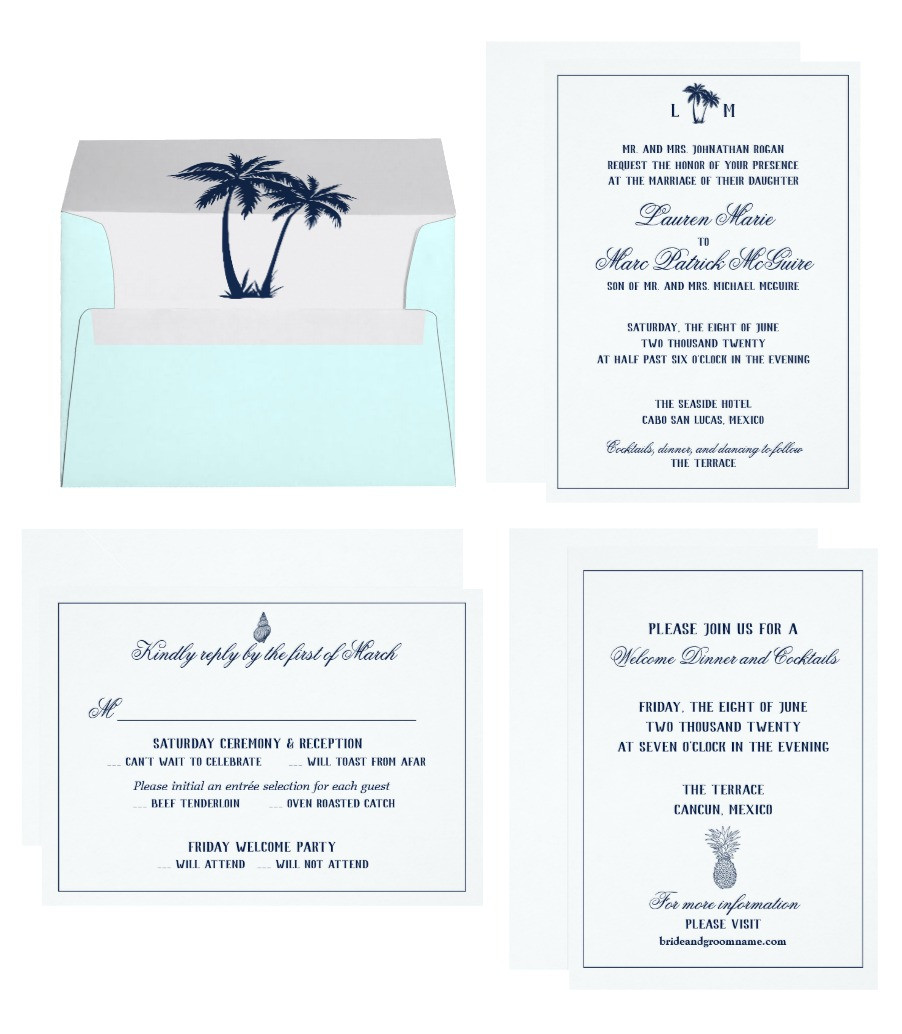 Blue and White Elegant Destination Wedding Suite