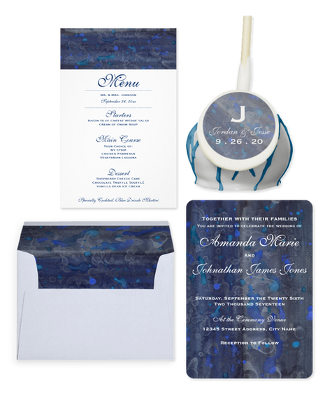 Blue Sapphire Wedding Invitation Suite